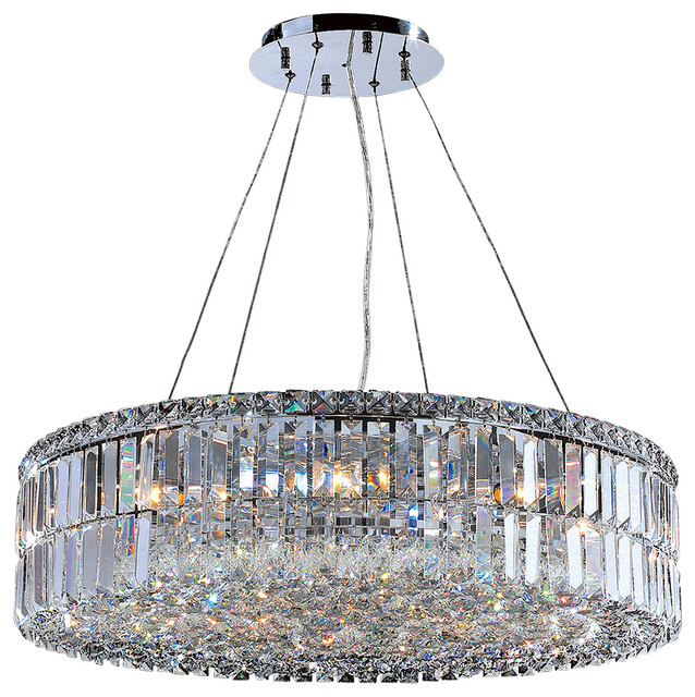 Cascade 12 Light Round Crystal Chandelier Chrome