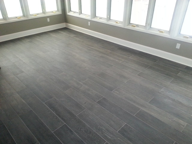 Sunroom Plank Tile Floor Traditional