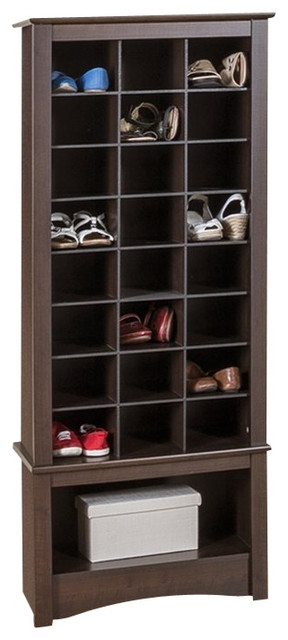 Prepac Tall Shoe Cubbie Cabinet in Black - Traditional - Shoe Storage ...