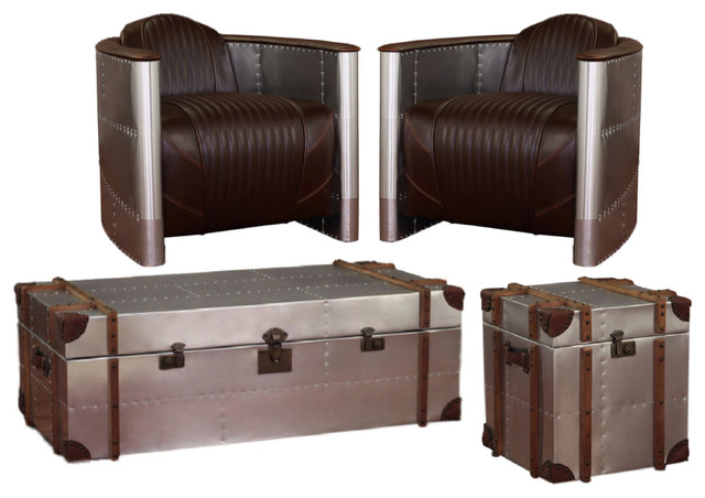Commander 4 Piece Chair And Table Set Brown Industrial Living Room Furniture Sets By