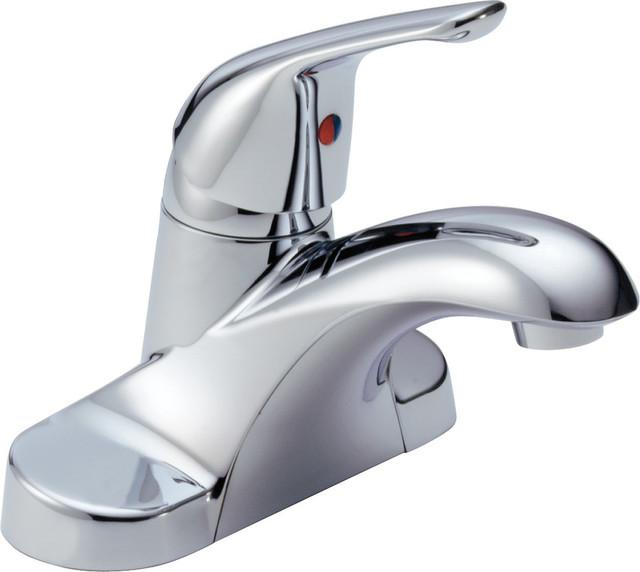 Delta single handle deck mount faucet lever handle chrome - Delta contemporary bathroom faucets ...