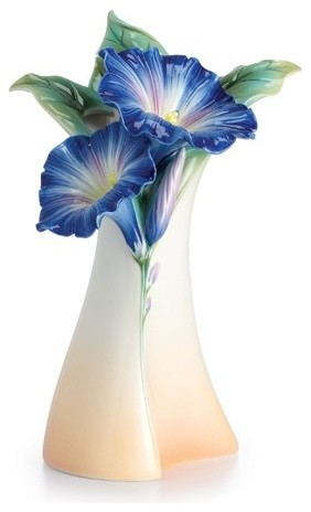 Franz Porcelain Collection Morning Glory Flower Mid Vase