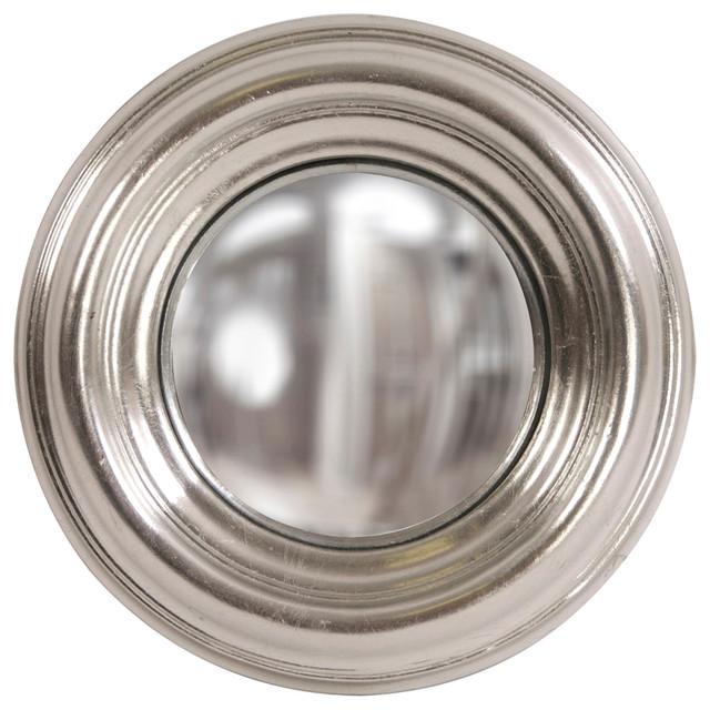 Howard Elliott Sylvia Round Silver Convex Mirror.