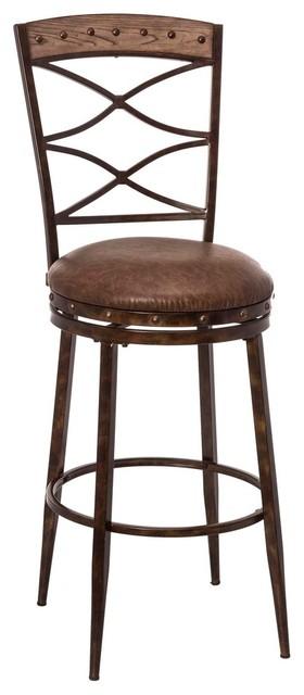 Admirable Hillsdale Emmons 26 Swivel Counter Stool In Brown Inzonedesignstudio Interior Chair Design Inzonedesignstudiocom