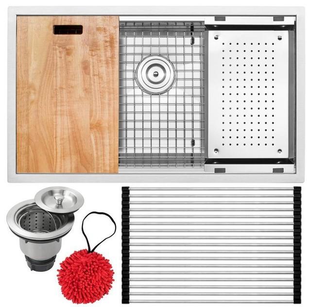"""32"""" Zero Radius Undermount 16-Gauge Stainless Steel Single Basin Kitchen Sink, S"""