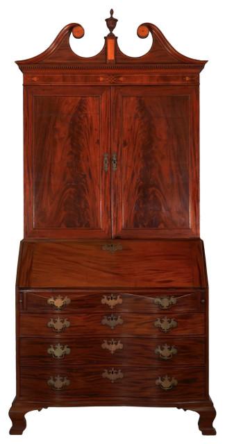 Consigned American Chippendale Mahogany Bookcase over Secretary Desk