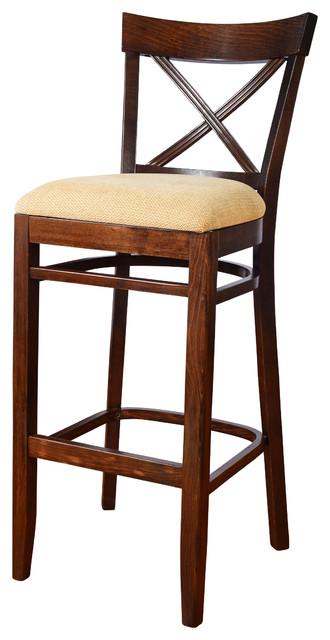 """x"" Back Bar Stool, Base: Walnut, Seat: Beige."