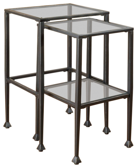 2-Piece Metal Nesting Table Set With Glass Top, Black.