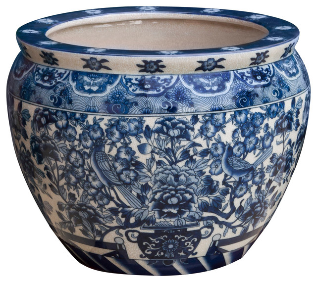 14 Blue And White Porcelain Fishbowl Planter Pot Asian Indoor