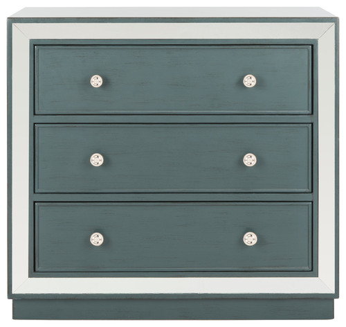 Safavieh Silas 3-Drawer Chest, Steel Teal, Mirror