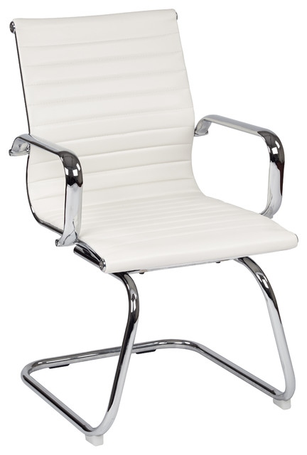 Mid Back White Faux Leather Office Chair With Chrome Arms And Sled Base