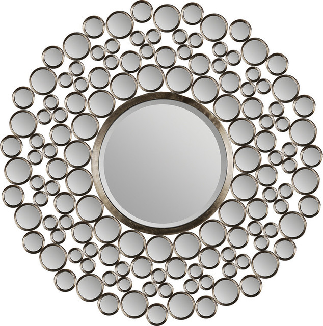 Large Round Silver Mirror Part - 19: Andromeda Mirror Contemporary-wall-mirrors