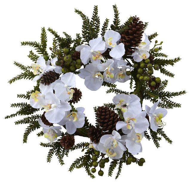 """Nearly Natural 22"""" Phalaenopsis And Pine Wreath."""
