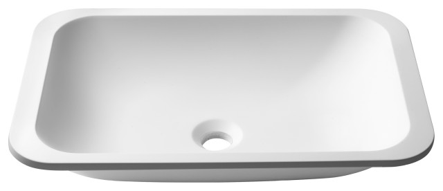 Natura Rectangle Undermount Bathroom Sink, Stone Resin Solid Surface