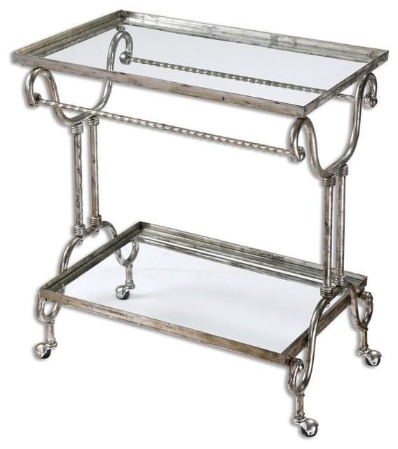 Silver Metal Rolling Bar Serving Cart.