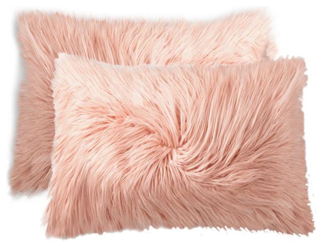 sheepskin fur pillow set of dusty rose faux pillows grey throw sham