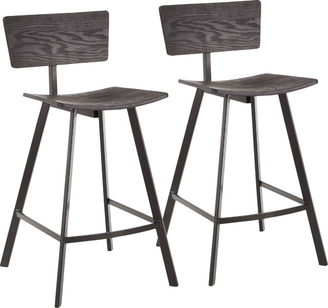 LumiSource Rocco Counter Stool, Black Metal and Black Wood, Set of 2