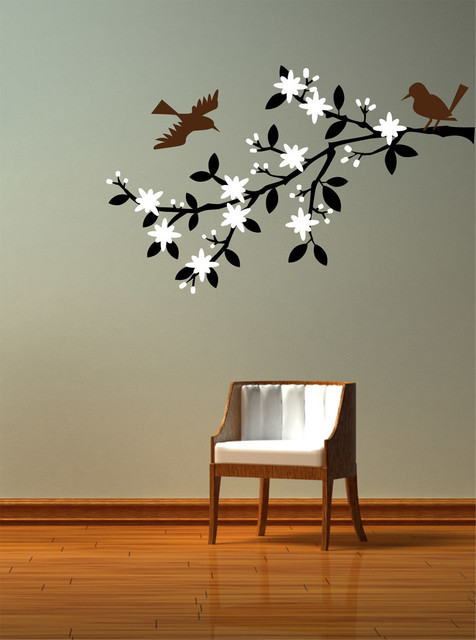 Blossoming Cherry Tree Branch Decal Contemporary Wall Decals