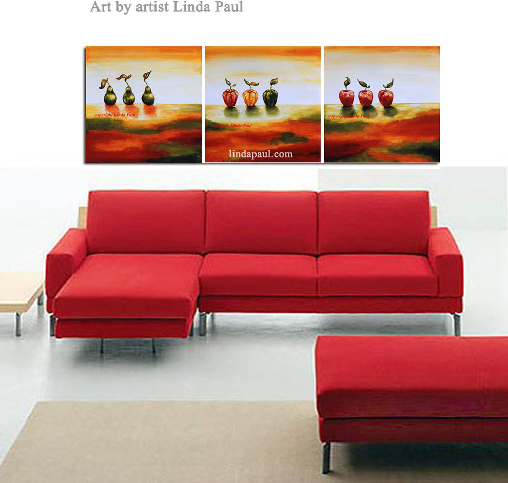 Contemporary Artwork - set of 3 paintings over red sofa ...