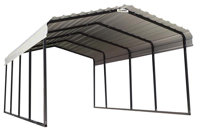 Steel Carport, Galvanized Black/eggshell, 12&x27;x20&x27;x7&x27;.