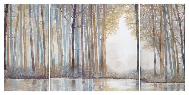 Dawn Printed Canvas Triptych, 60x30.