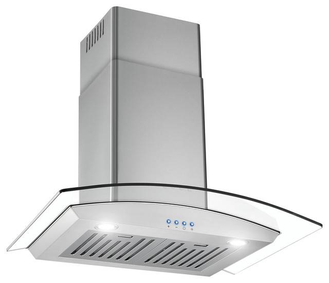 Stainless Steel And Glass Range Hood 30 With Led Buttons.