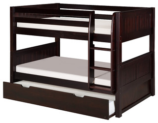 Gage Bunk Bed With Trundle, Cappuccino, Twin