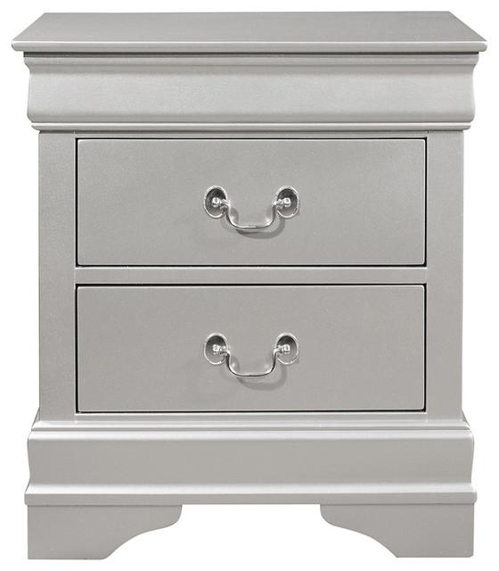Global Furniture Marley Nightstand, Silver.