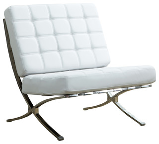 Barcelona Style Accent Chair, Chrome X Base, Bonded Leather, White