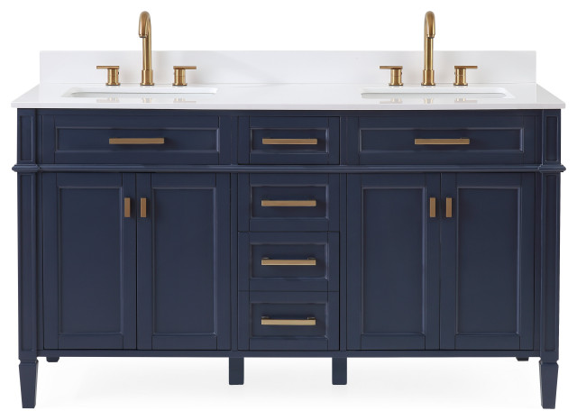 60 Durand Double Sink Navy Blue Bath Vanity Transitional Bathroom Vanities And Sink Consoles By Chans Furniture Houzz
