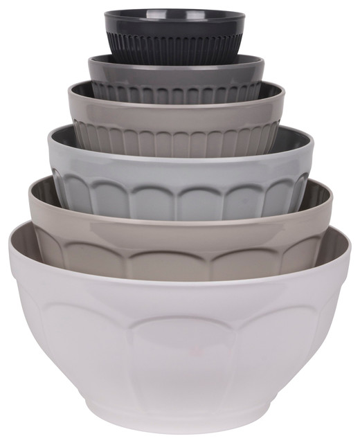 French Country Grey 6-Piece Mixing Bowl Set.