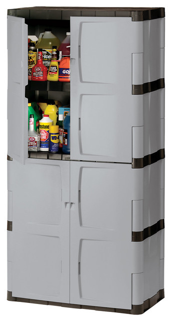 "Rubbermaid 72"" Mica And Charcoal Full Double Door Cabinet."