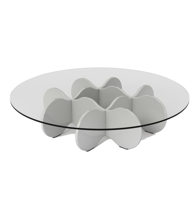 Manhattan Comfort Waverly 28 Round Gl Top Accent End Coffee Table White