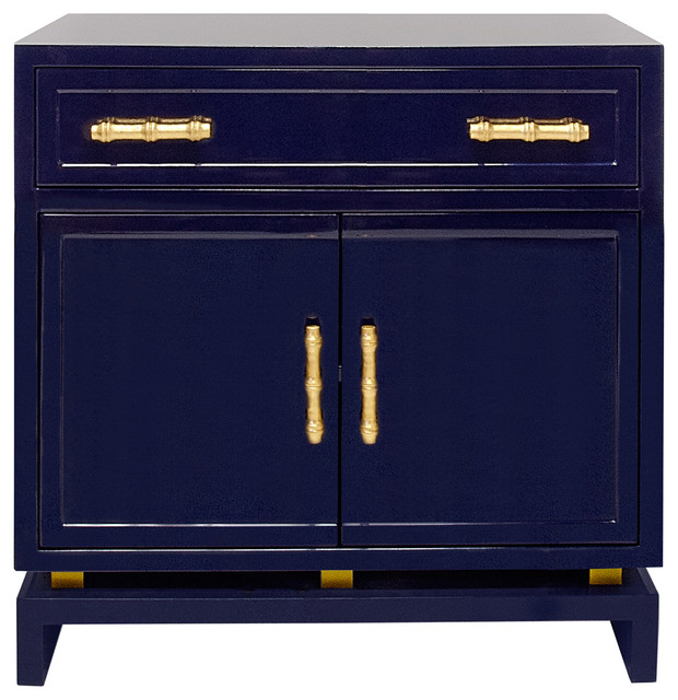Contemporary Nightstands And Bedside Tables By Kathy Kuo Home · Tracey  Hollywood Regency Navy Blue Lacquer Nightstand Cabinet