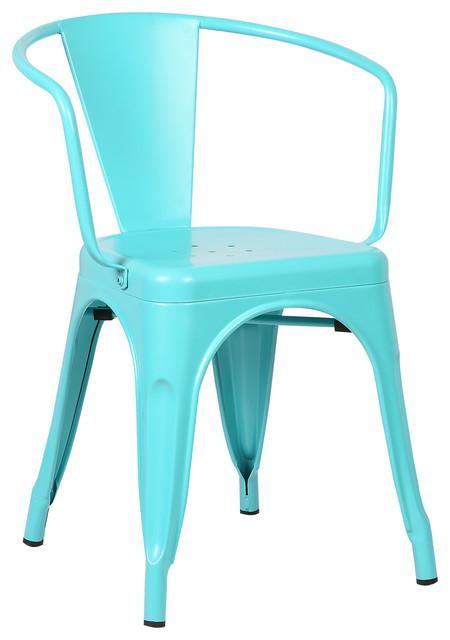 Trattoria Arm Chair, White, Set Of 2, Aqua.