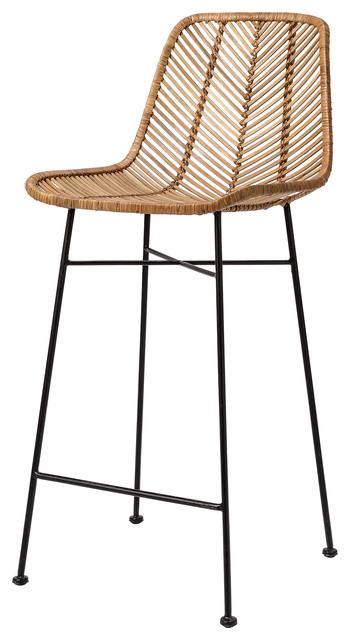 Rattan Bar Stool, Natural, Seat Height 71cm
