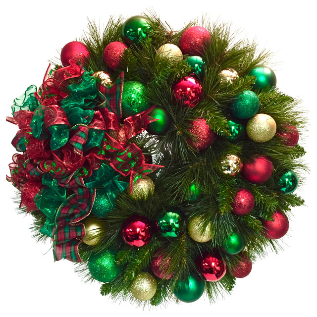 Traditional Red Green Gold Double Pine Christmas Wreath Wreath Traditional Wreaths And Garlands By Sandy Newhart Designs