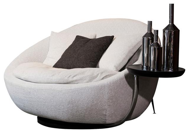 Divani Casa Alba Modern Gray Fabric Chair With Tray