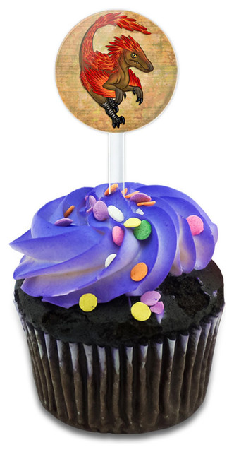 Vigilant Velociraptor Cupcake Toppers Picks Set.