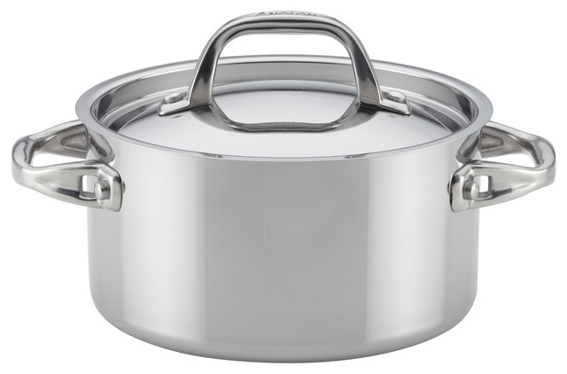 Anolon Tri-Ply Clad Stainless Steel Covered Saucepot, 3.5-Qt