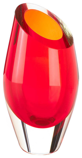 Koehler Home Decor Tabletop Modern Red Cut Glass Vase Contemporary