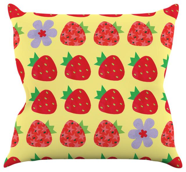 Jane Smith Seasons Summer Yellow Red Throw Pillow