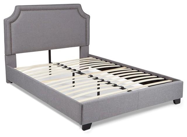 Brossard Upholstered Platform Bed, Gray, King.