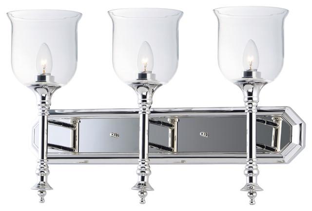 Clear Cloche Glass Bath Light 3 Light: Centennial Three Light Bath Vanity Polished Nickel Clear
