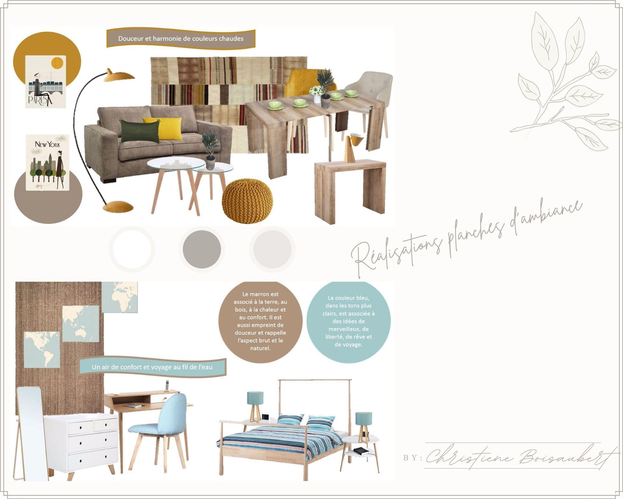 Planche d'ambiance et d'inspiration projets de décoration