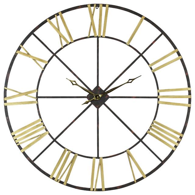 Artisanti Large Metal Skeleton Wall Clock Black With Red Dot Pendulum 255  Uk Transitional Clocks