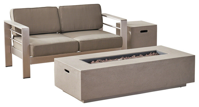 GDF Studio Danae Coral Loveseat and Fire Pit Set, Silver/Khaki/Light Gray