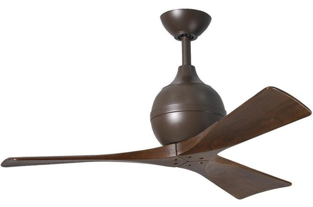 "Irene-3 Three Bladed Paddle Fan In Textured Bronze With Walnut Blades 42""."