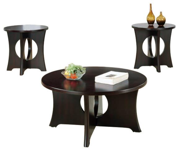 Monarch specialties inc table set 3 piece set dark for Furniture of america architectural inspired dark espresso coffee table