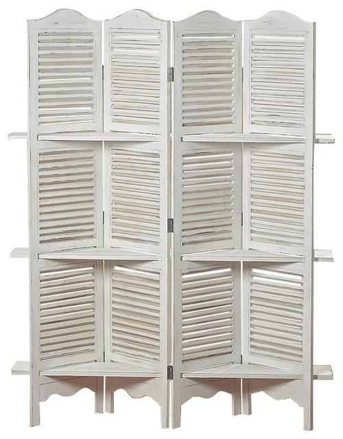6 Stockbridge Room Divider With 4 Panel 3 Shelves And Louvered Shutters White